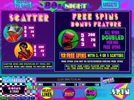 Play 80s Night - Free Slot Game